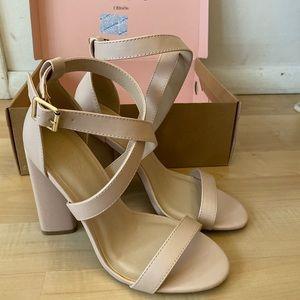 Women platform heels (party) size 7 - nude pink